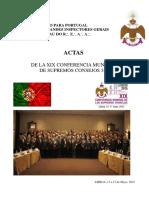 Actas de la XIX Conferencia Mundial de los Supremos Consejos Grado 33°