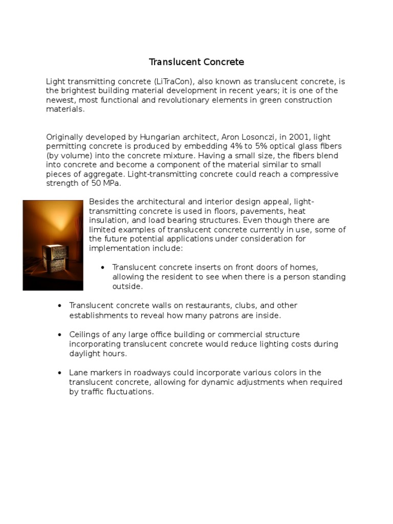 Light Transmitting Concrete Translucent Concrete Concrete Lighting