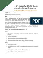 CBSE UGC NET December 2015 Syllabus for Mass Communication and Journalism