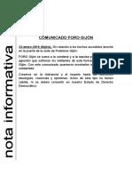 23.01.2016 Comunicado FORO Gijón