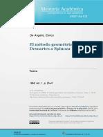 El MetoDo Geometrico de Descartes a Spinoza