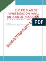 Modelo de Plan de Investigacion Para Un Plan de Negocios