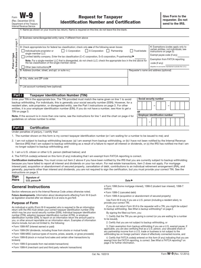 Form W-9 | Withholding Tax | Limited Liability Company