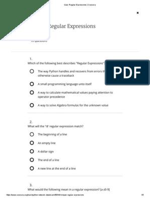 Week Quiz_ 2 _ Coursera | Regular Expression | Boolean Data Type