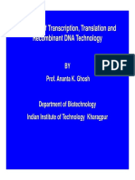 Overview of Transcription, Translation and Recombinant DNA Technology