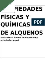 propiedades físicas y químicas de ALQUENOS