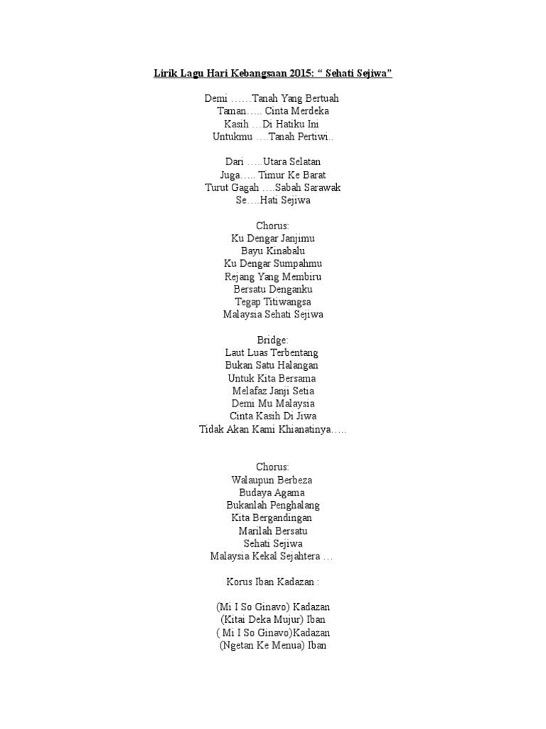 Lirik Lagu Negaraku Sehati Sejiwa