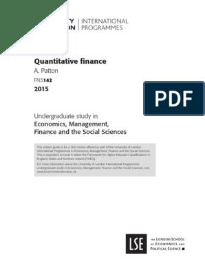 Quantitative finance | Econometrics | Time Series