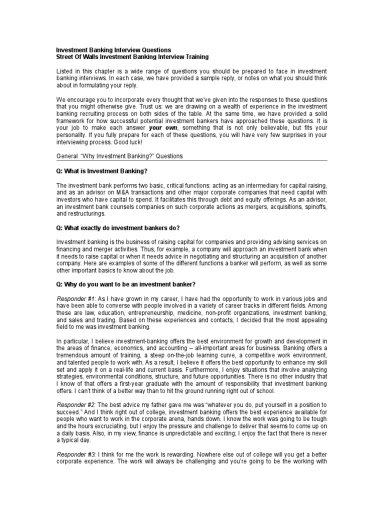 Investment Banking Interview Questions Investment Banking Mergers And Acquisitions