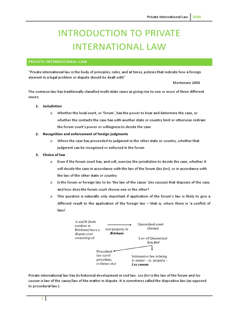 Private International Law Notes | Choice Of Law | Jurisdiction