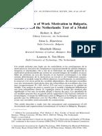 A Comparison of Work Motivation in BulA Comparison of Work Motivation in Bulgaria, Hungary, and the Netherlandsgaria, Hungary, And the Netherlands