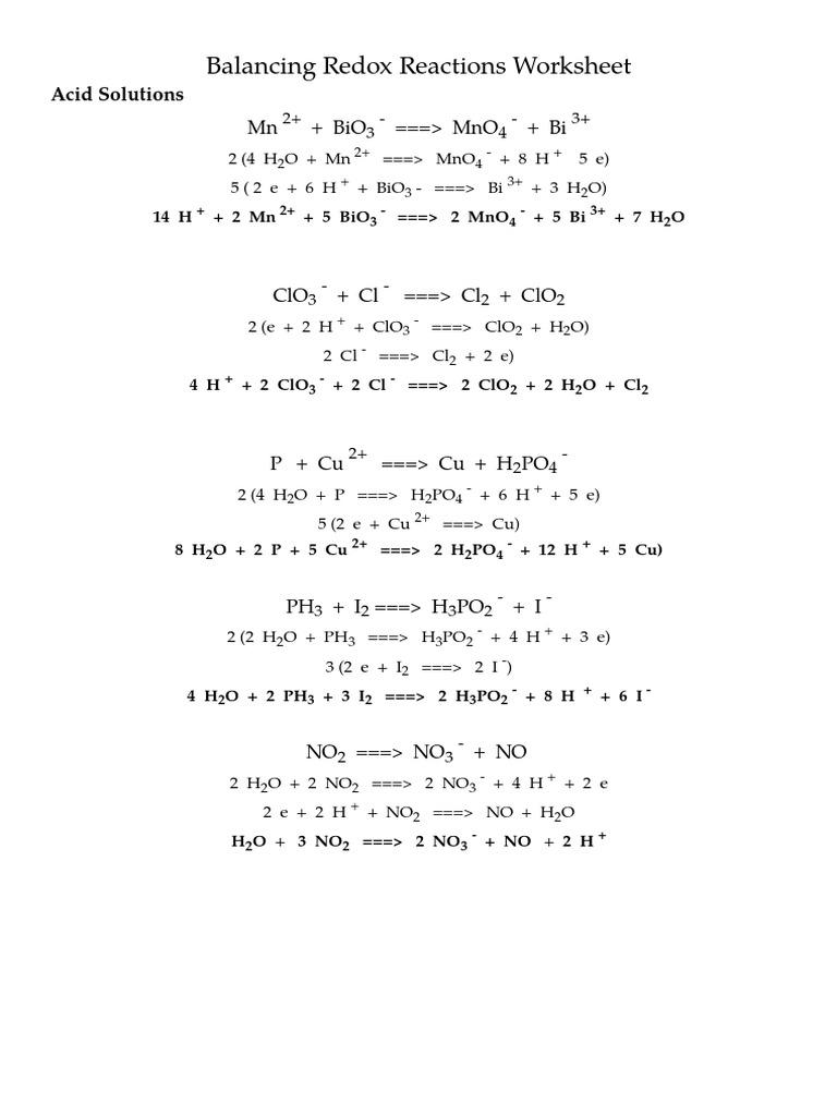 Balancing Redox Reactions Worksheetkey – Balancing Redox Reactions Worksheet