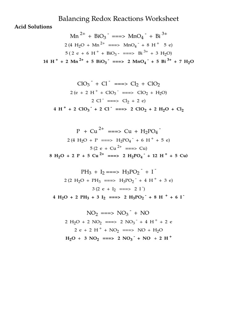 Balancing Redox Reactions Worksheet_key