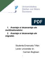 Avantaje si dezavantaje ale migratiei si a corporatiilor multinationale