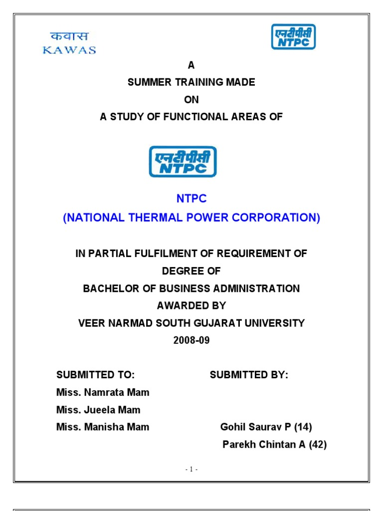 Summer Training Project on Ntpc | Hydroelectricity | Steam