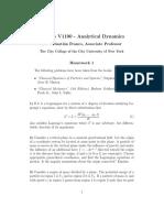Analytical Dynamics Homework 1