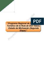 Programa Regional de Desarrollo Turstico de La Ruta de Don Vasco, Estado de Michoacan