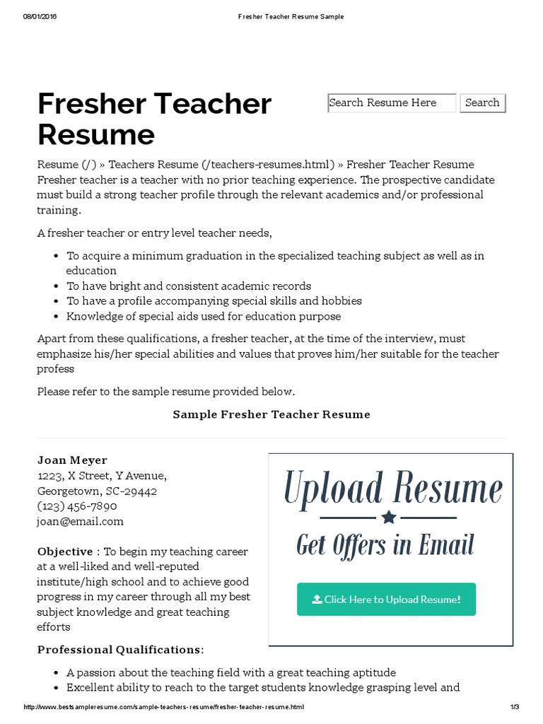 Fresher Teacher Resume Sample Resume Teachers