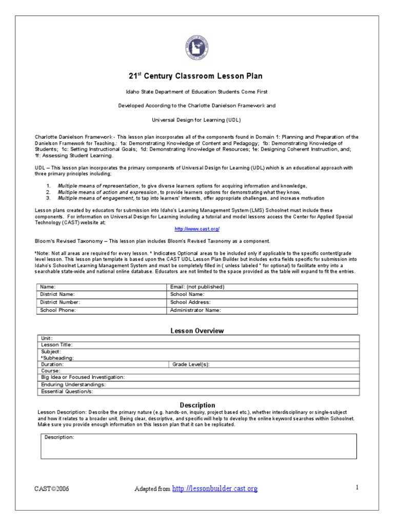 St Century Classroom Lesson Plan Template Lesson Plan - Single subject lesson plan template