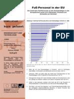 FuE-Personal in der EU - Der Anteil des FuE-Personals an den Erwerbstätigen in der Europäischen Union ist in Dänemark, Finnland und Schweden am höchsten