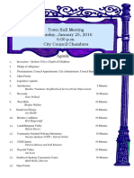 Town Hall Agenda 1-25-16