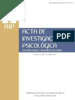 Acta de Investigación Psicológica (Psychological Research Records) Vol 3 (2) Ago 2013 -Fac Psicología, UNAM