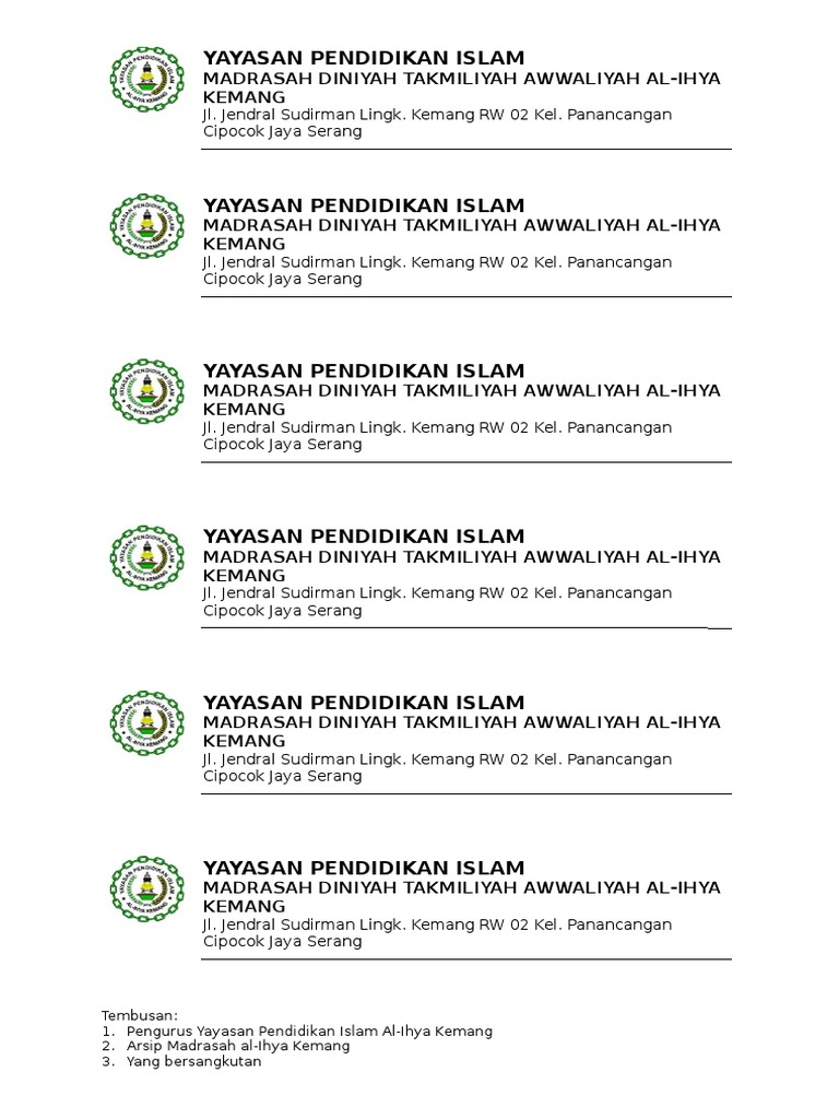 Kop Surat Yayasan