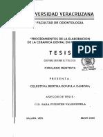 procedimientos en la elaboracion de ceramicas en protesis fija