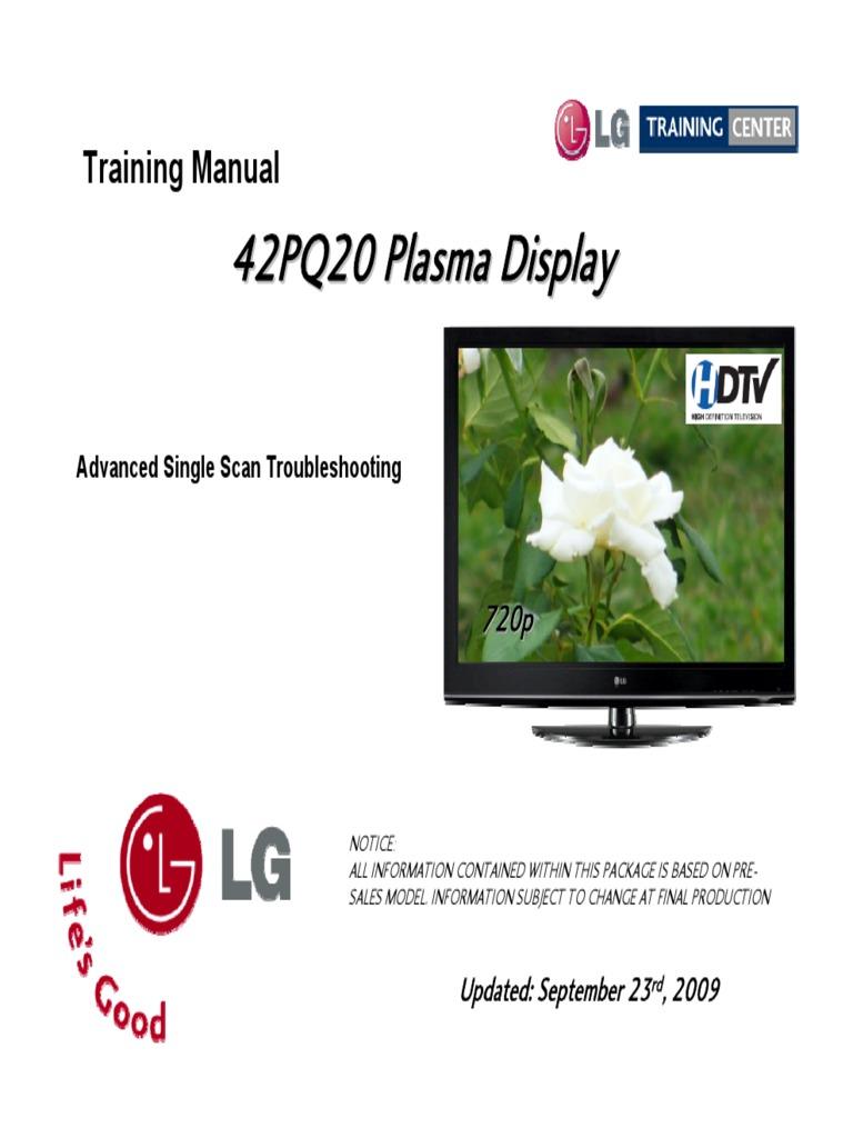 LG 42PQ20 Plasma TV Training Manual A | Power Supply | High Definition  Television