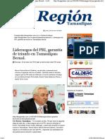 24-01-2016 Lideragos del PRI, garantía de triunfo en Tamaulipas