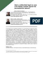 Responsabilidad y Solidaridad Legal en Caso de Accidente de Trabajo Cuando Operan Las Figuras de Intermediacion Laboral