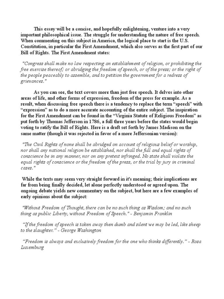 first amendment opinion essay