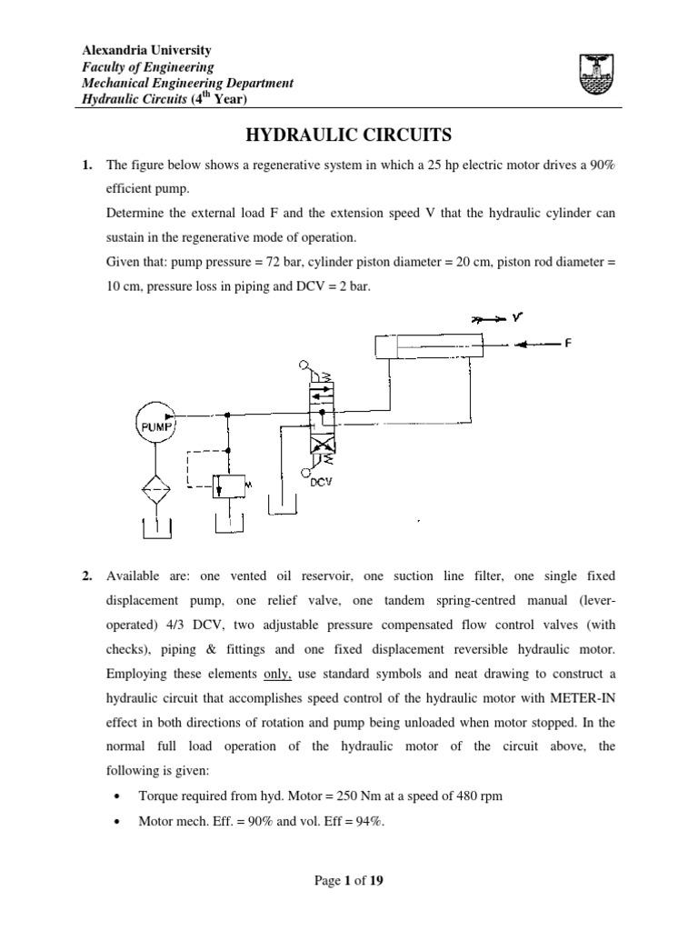 New Sheet Corrected Pump Cylinder Engine Hydraulic Basic Circuit