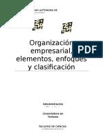 Organización empresarial, elementos, enfoque y clasificación