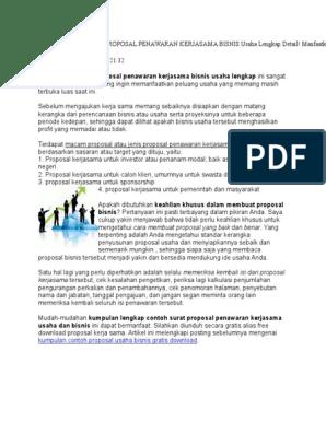 Kumpulan Contoh Proposal Penawaran Kerjasama Bisnis Usaha