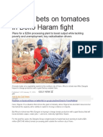 Nigeria Bets on Tomatoes in Boko Haram Fight