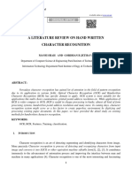 A Literature Review on Hand Written Character Recognition