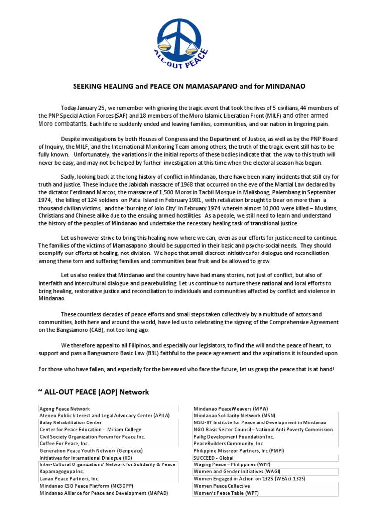 Seeking Healing And Peace On Mamasapano And For Mindanao Human