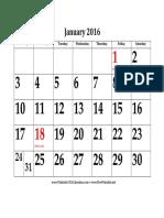 2016 Large Bold Calendar