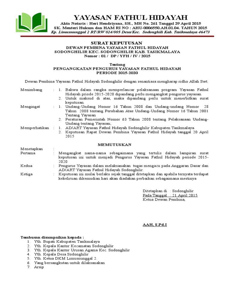 Contoh Sk Pengangkatan Ketua Yayasan - IlmuSosial.id