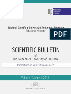 Scientific Bulletin Transactions On Modern Languages