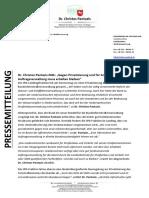 PM - DR. PANTAZIS MdL - Gegen Privatisierung Und Für Arbeitsplätze – Auftragsverwaltung Muss Erhalten Bleiben