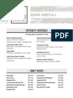 Julia Pearl bar menu