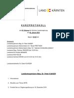 Kurzprotokoll der 63. Sitzung der Kärntner Landesregierung