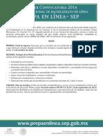 Prepa en Linea Primera Convocatoria 2016