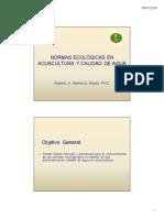 Normas Ecológicas de La Acuicultura Orgánica y Calidad de Agua