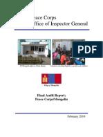 Peace Corps Mongolia PC Mongolia Final Audit Report IG1007A