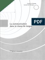 La Communication Dans La Classe de Langue