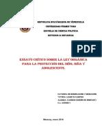 Ensayo Crítico Sobre La Ley Orgánica Para La Protección Del Niño