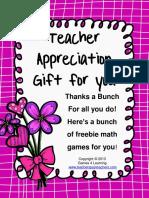 Math Games Teacher Appreciation Gift